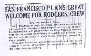 San Francisco Plans Great Welcome for Rodgers, Crew, 9-21-1925